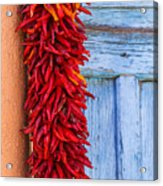Red Peppers And Blue Door Acrylic Print