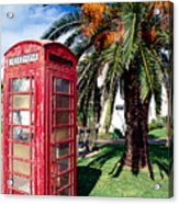 Red Phone Booth Bermuda Acrylic Print
