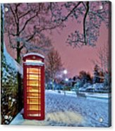 Red Phone Box Covered In Snow Acrylic Print by Photo by John Quintero