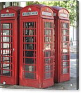 Red Phone Boxes. Acrylic Print