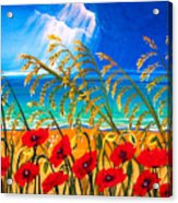 Red Poppies And Sea Oats By The Sea Acrylic Print