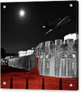 Red Poppies At Tower Of London With Spitfire Flypast Acrylic Print