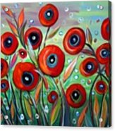 Red Poppies In Grass Acrylic Print