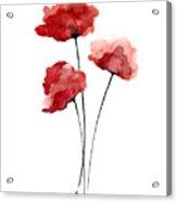 Red Poppies Minimalist Painting Acrylic Print