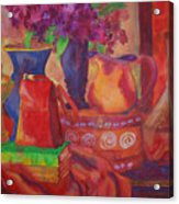 Red Purse On Green Book Acrylic Print