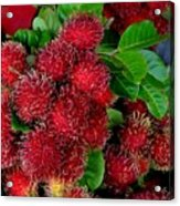 Red Rambutan And Green Leaves Acrylic Print