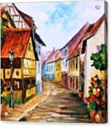 Red Roof - Palette Knife Oil Painting On Canvas By Leonid Afremov Acrylic Print