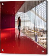 Red Room Views At The Seattle Central Library Acrylic Print