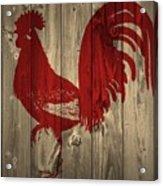 Red Rooster Barn Door Acrylic Print
