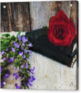 Red Rose And Sage With Vintage Books Acrylic Print