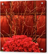 Red Rose Display Close Up Acrylic Print by Linda Phelps