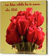 Red Rosed In Vase Is.55 V 6 Acrylic Print