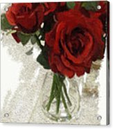 Red Roses And Glass Still Life 042216 1a Acrylic Print