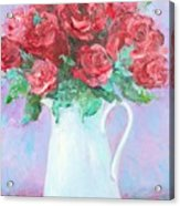 Red Roses In White Jug Acrylic Print by Jan Matson