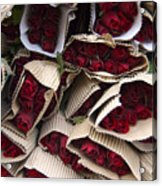 Red Roses Wrapped In Paper Displayed Acrylic Print
