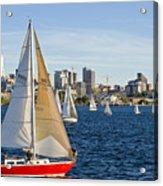 Red Sail Boat Acrylic Print