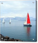 Red Sailing Freedom Acrylic Print