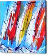 Red Sails On Blue  Acrylic Print