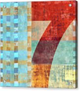 Red Seven And Stripes Mixed Media Acrylic Print
