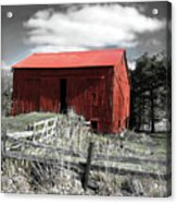 Red Shack Landscape Acrylic Print