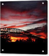 Red Skies At Pleasure Island Bridge Acrylic Print