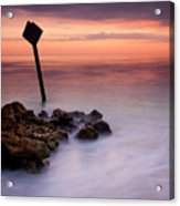 Red Sky Caution Acrylic Print by Mike  Dawson