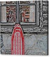 Red Sled Waiting Acrylic Print