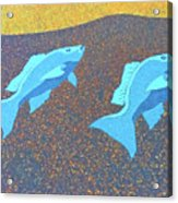 Red Snapper Inlay On Alabama Welcome Center Floor - Color Invert Acrylic Print