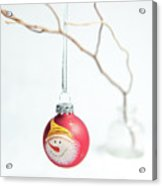 Red Snowman Bauble On A Branch Acrylic Print