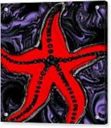 Red Starfish In Stormy Seas Acrylic Print