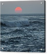 Red Sun With Wave Acrylic Print