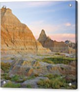Red Sunrise On The Hills Of Badlands Acrylic Print
