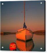 Red Sunrise Reflections On Sailboat Acrylic Print