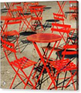 Red Tables And Chairs Acrylic Print