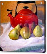 Red Teapot And Pears Acrylic Print