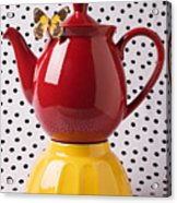 Red Teapot With Butterfly Acrylic Print