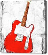 Red Telecaster Fine Art Illustration By Roly O Acrylic Print