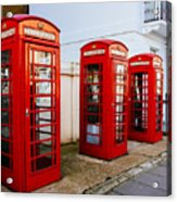 Red Telephone Booths London Acrylic Print