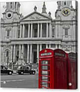 Red Telephone Boxes In London Acrylic Print