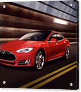 Red Tesla Model S Red Luxury Electric Car Speeding In A Tunnel Acrylic Print