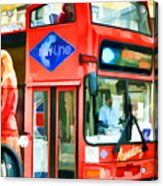 Red Tourist Bus In New York Acrylic Print