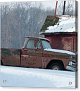 Red Truck In The Snow Acrylic Print