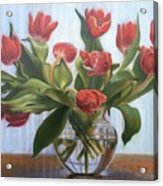 Red Tulips, Glass Vase Acrylic Print