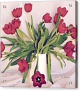 Red Tulips In Full Bloom Acrylic Print
