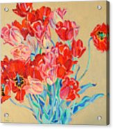Red Tulips With Gold Background Acrylic Print