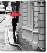 Red Umbrella In London Acrylic Print