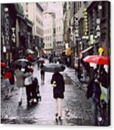Red Umbrella In The Rain Acrylic Print