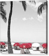 Red Umbrellas On Waikiki Beach Hawaii Acrylic Print