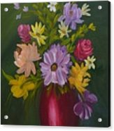 Red Vase Still Life Acrylic Print