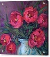 Red Velvet Tulips Acrylic Print
